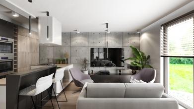projekt salonu z kuchnia tarnow